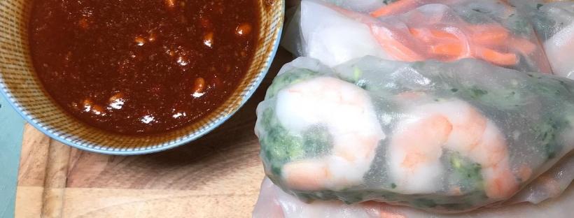 Shrimp spring rolls with thai peanut sauce food vino soul forumfinder Image collections